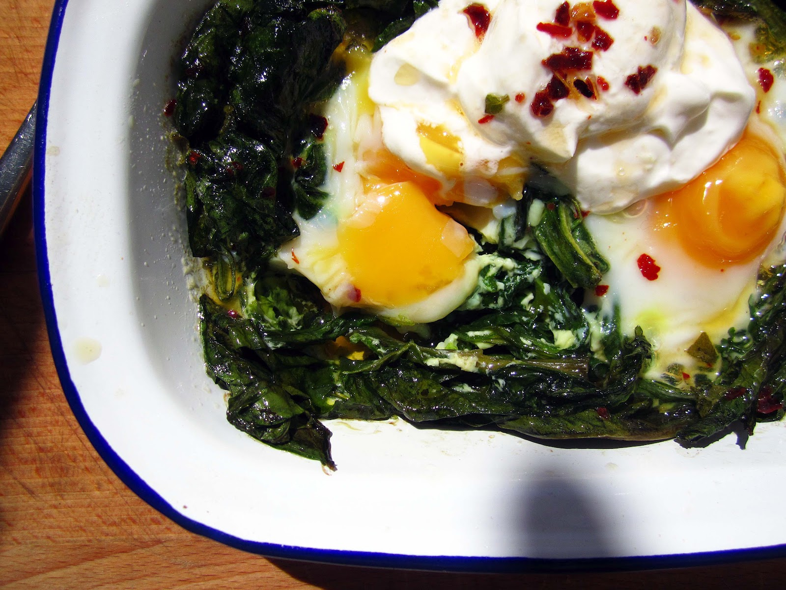 Baked Eggs with Wilted Spinach, Yoghurt and Chilli and Sage Butter