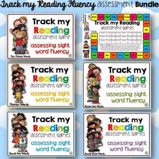 Track my Reading Fluency Assessment Games: The BUNDLE Pre-Primer to Grade 3