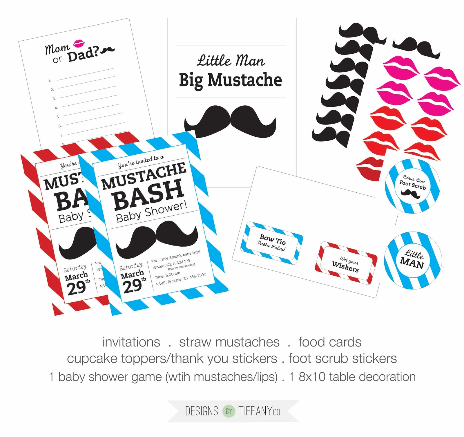 FREE Printable Mustache Baby Shower BASH Designs by TiffanyCo