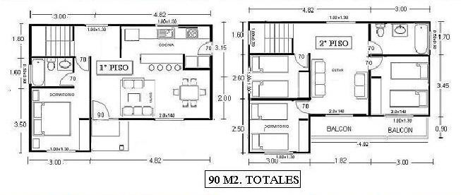 Planos con medidas de casas peque as imagui for Planta arquitectonica con medidas