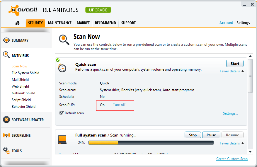 how to turn on avast virus protection