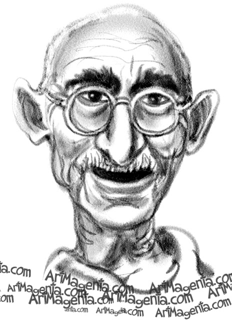 Mahatma Gandhi caricature cartoon. Portrait drawing by caricaturist Artmagenta.
