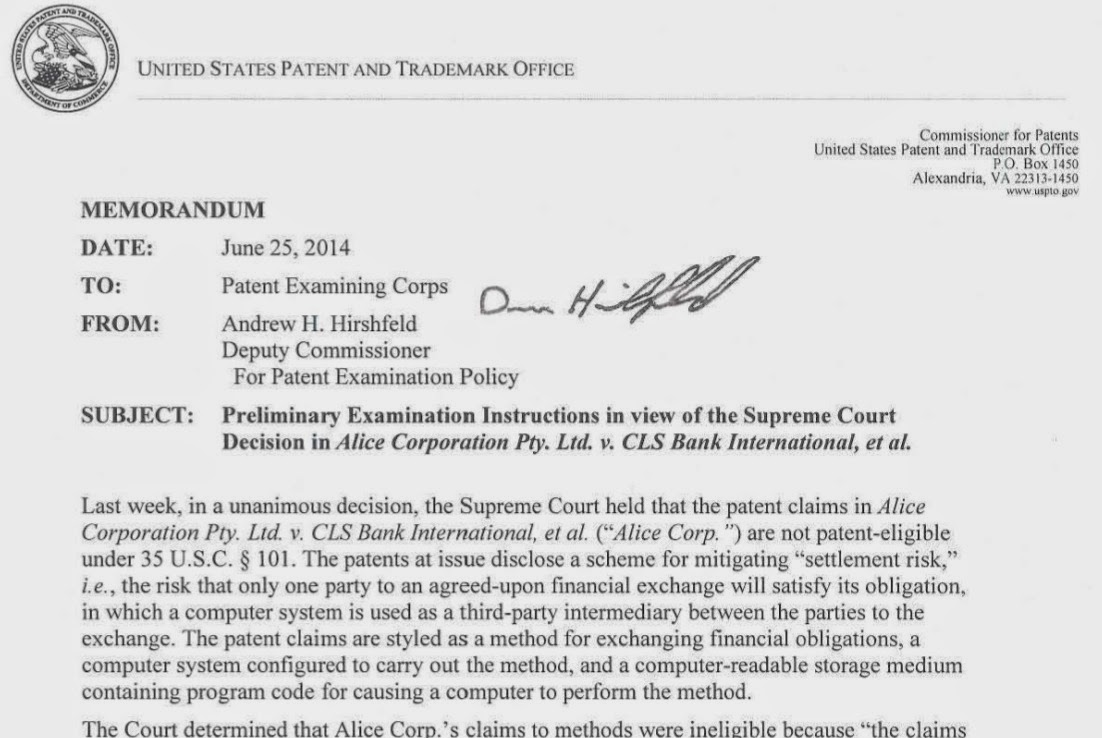 alice corporation pty ltd v cls By eugene t perez and brian cannon the supreme court recently granted certiorari [1] in the case cls bank int'l v alice corp pty ltd[2] to address the following issue: whether claims to computer-implemented inventions - including claims to systems and machines, processes, and items of manufacture - are directed to patent-eligible subject matter within.