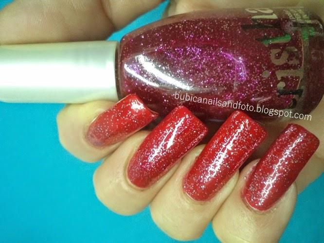simple nails: 884 dark red glitter nails , Cristhal 175 nail polish
