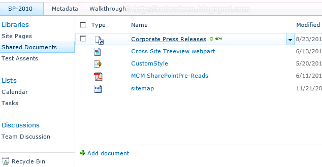 sharepoint 2010 shortcut in document library