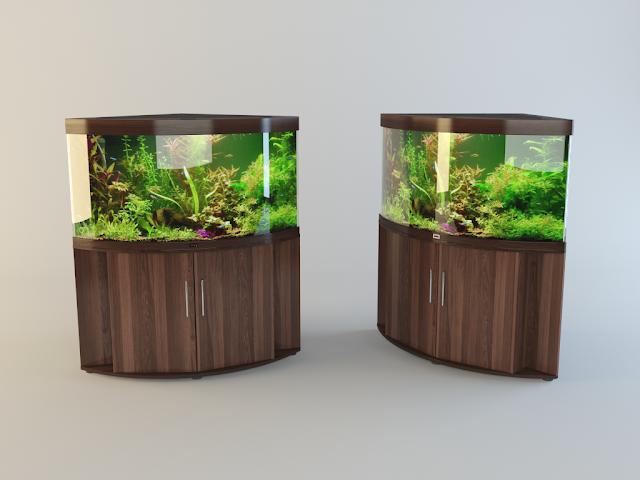 аквариум 3d, аквариум 3d model, aquarium 3d model, aquarium 3d, Аквариум угловой овальный Juwel TRIGON 3d model, Juwel TRIGON 3d