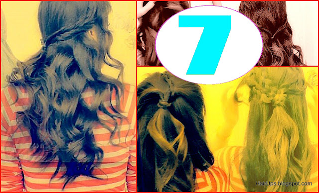 7 Easy &amp; quick everyday hairstyles | 7 half-up hairstyle updo looks for long hair and for medium hair with curls and braids