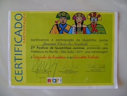 Certificado de participação da Oásis do Nordeste no 27º festival de Quadrilha Junina de Pernambuco