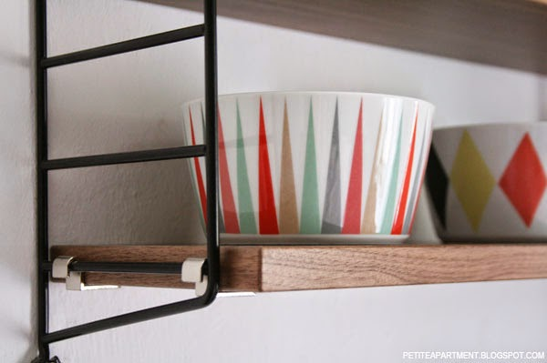string metal and wood wall shelf with ikea brakig bowls retro mid century modern danish organic home decor inspiration