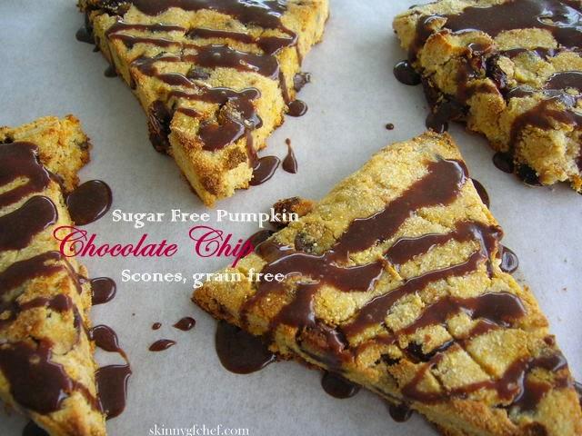 Sugar Free Pumpkin Chocolate Chip Scones, with cranberries, gluten free, grain free