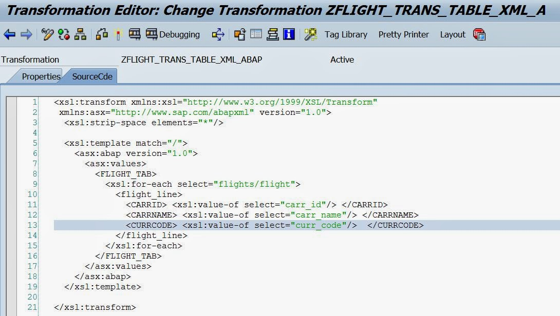 techsap xslt pgm of transforming a xml tree into int