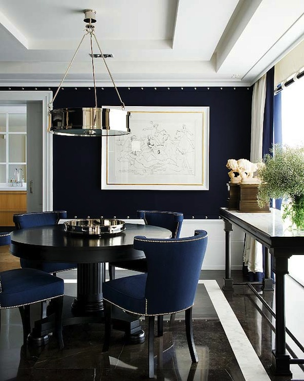 Navy Blue Dining Room with Wall