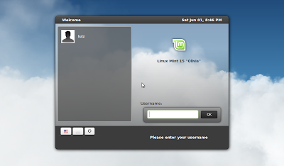Linux Mint 15 login screen