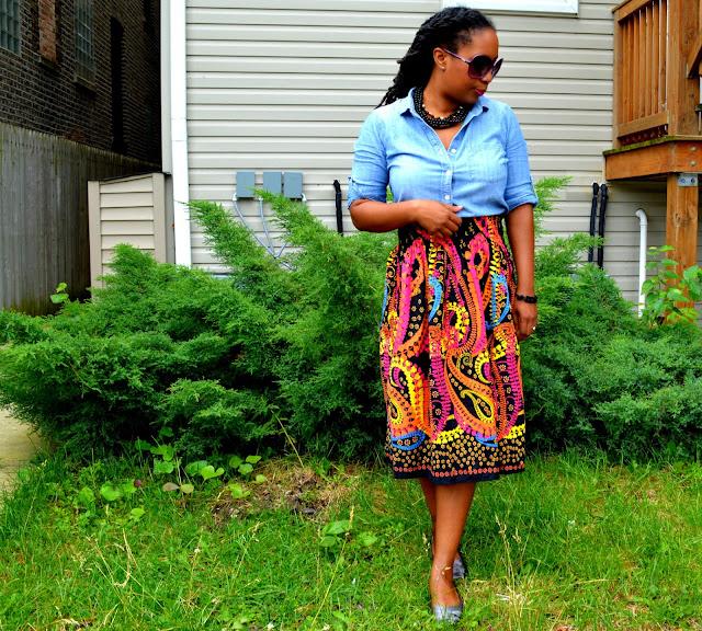 paisley dress worn as a skirt