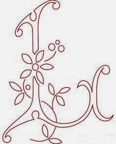 L flower calligraphy monogram tattoo stencils