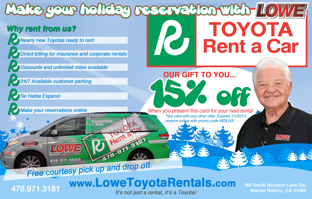 Lowe Toyota Rent A Car Holiday Special