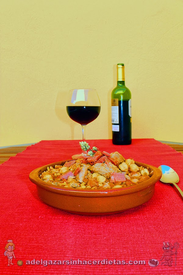 Receta saludable de Garbanzos con pavo bajo en calorías, apto para diabéticos y bajo en colesterol.