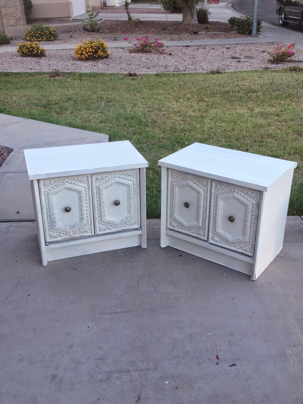 White Distressed End Tables  *SOLD*
