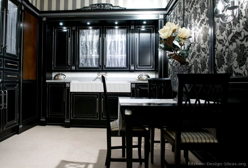 Cabinets for kitchen black kitchen cabinets with for Traditional dark kitchen cabinets