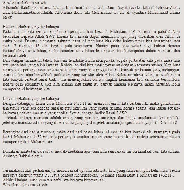 Contoh Teks Naskah Pidato Tahun Baru Hijriyah