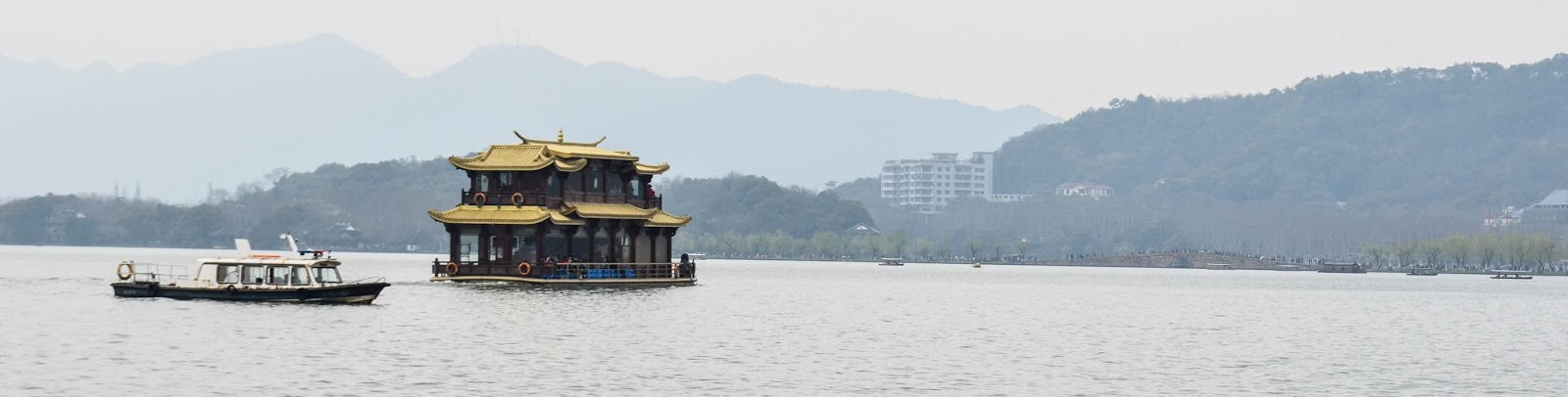 typical chinese boat in lake of hangzhou