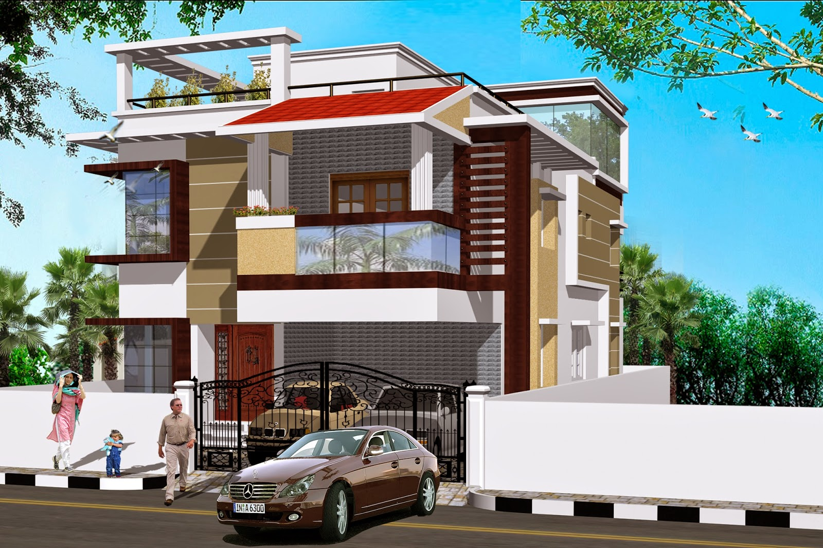 Luckydesigners 3d elevation residential building for Residential pictures