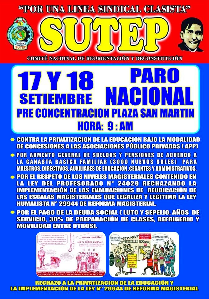 17-18 SETIEMBRE: PARO NACIONAL