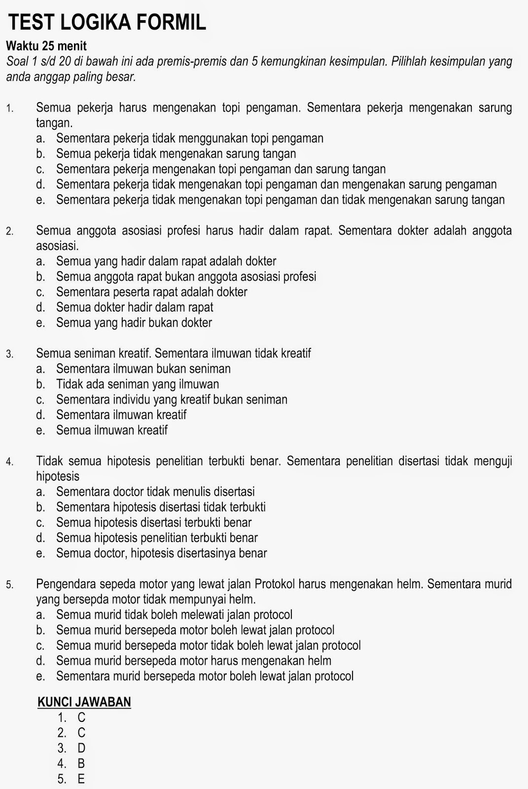 Contoh Soal Psikotest Logika Formil