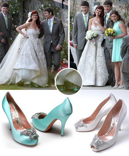 This is such a beautiful Tiffany Blue wedding shoe by Aruna Seth worn by