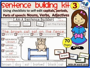 http://www.teacherspayteachers.com/Product/Sentence-Building-Kit-3-70-pgs-Whimsy-Workshop-Teaching-1114786