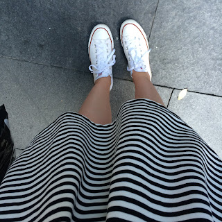 white converse, striped dress