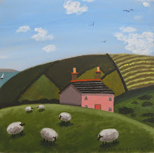 sophie harding - pink cottage and sheep