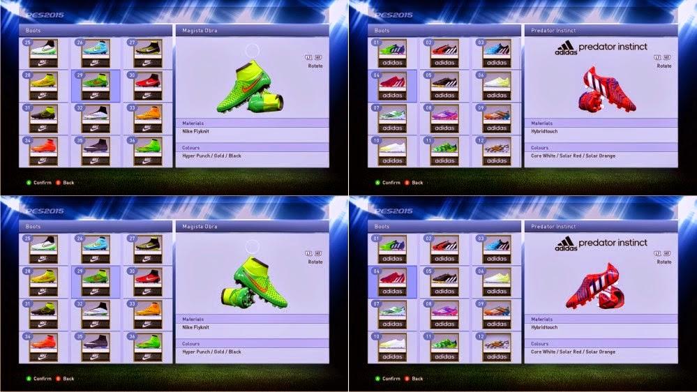 PES 2015 PC: Chuteiras Adidas Predator + Nike Magista boots