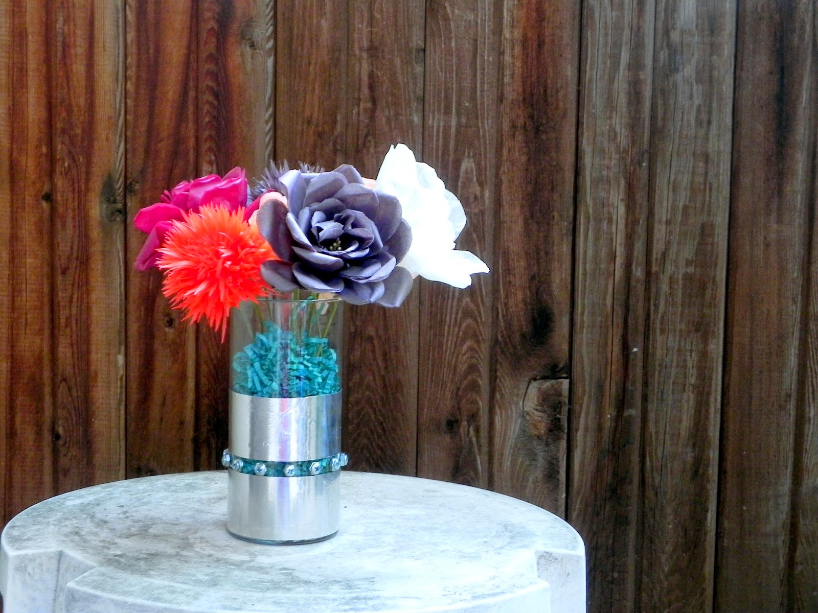 DIY Riveted Vase Paper Flowers