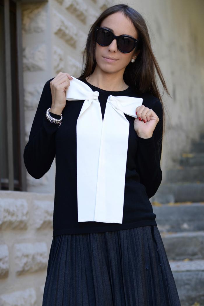 maglia nera fiocco bianco