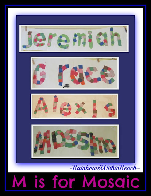 photo of: M is for Mosaic Bulletin Board for Name Recognition (from Bulletin Board RounUP via RainbowsWithinReach)