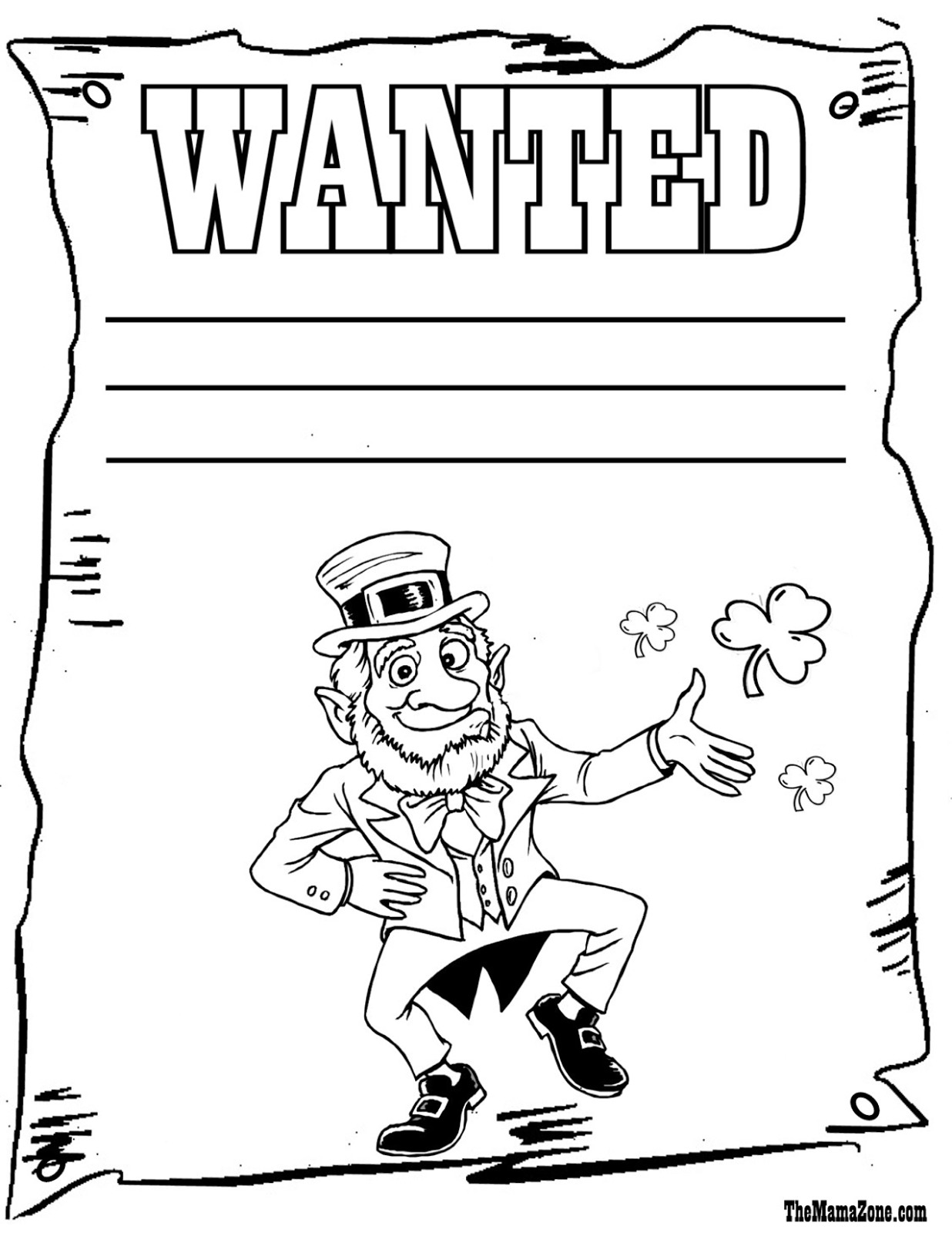 *Leprechaun Wanted Coloring Page