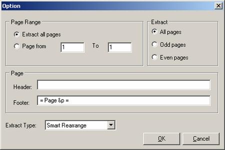 выбор страниц и их подписей в A-PDF Text Extractor