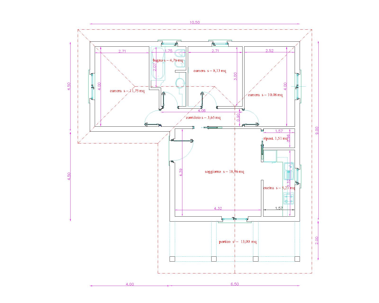 Progetti di case in legno casa 77 mq portico 13 mq for Progetti di portico anteriore