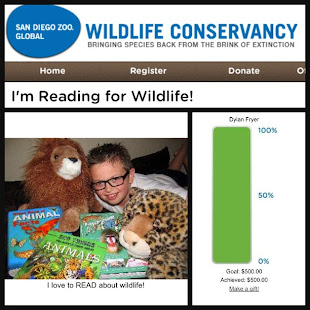 Dylan raised $500 Reading for Wildlife