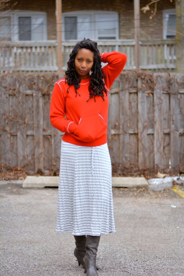 lapis striped midi skirt
