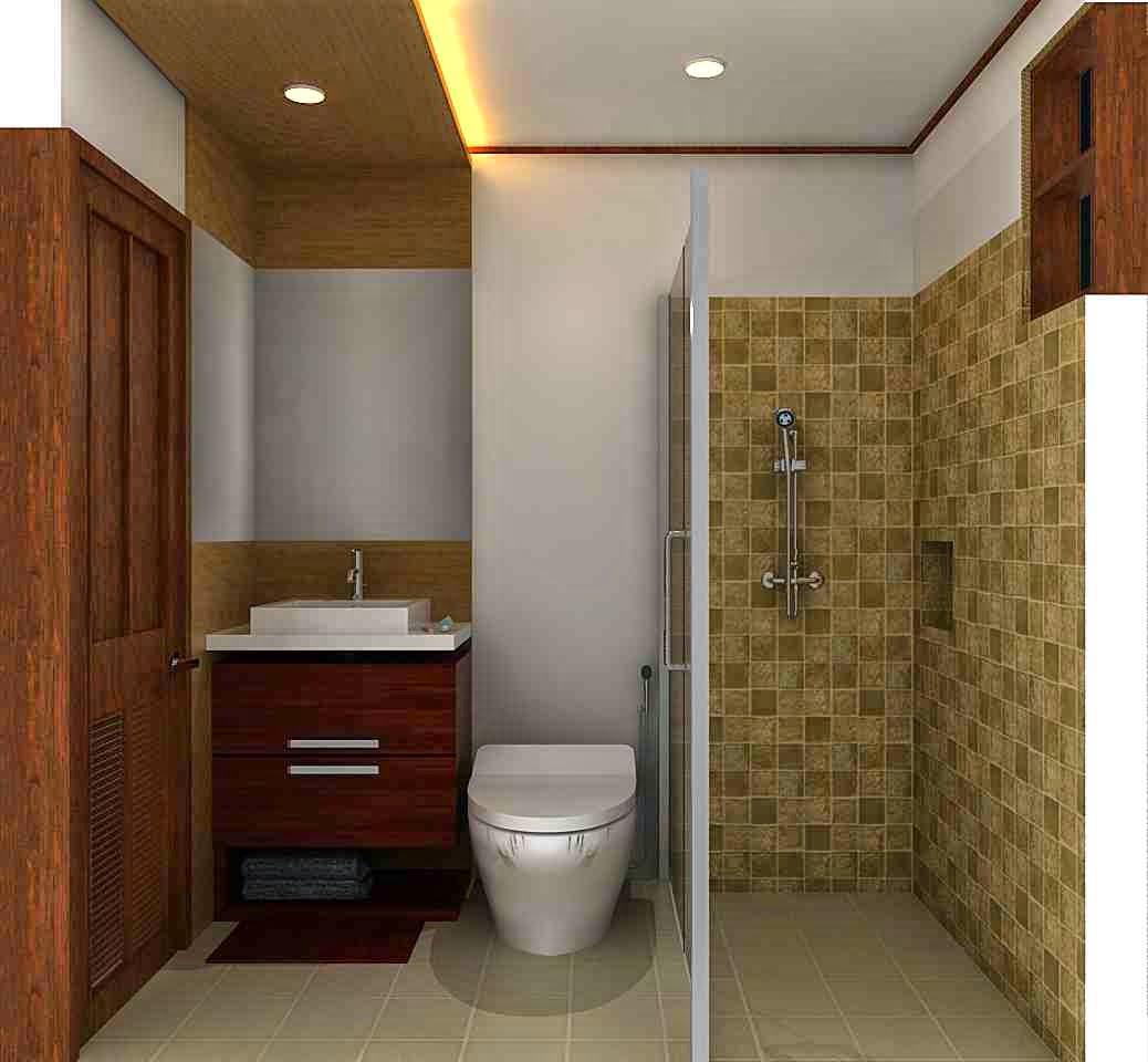 Desain kamar mandi minimalis ukuran 2x2 Modern