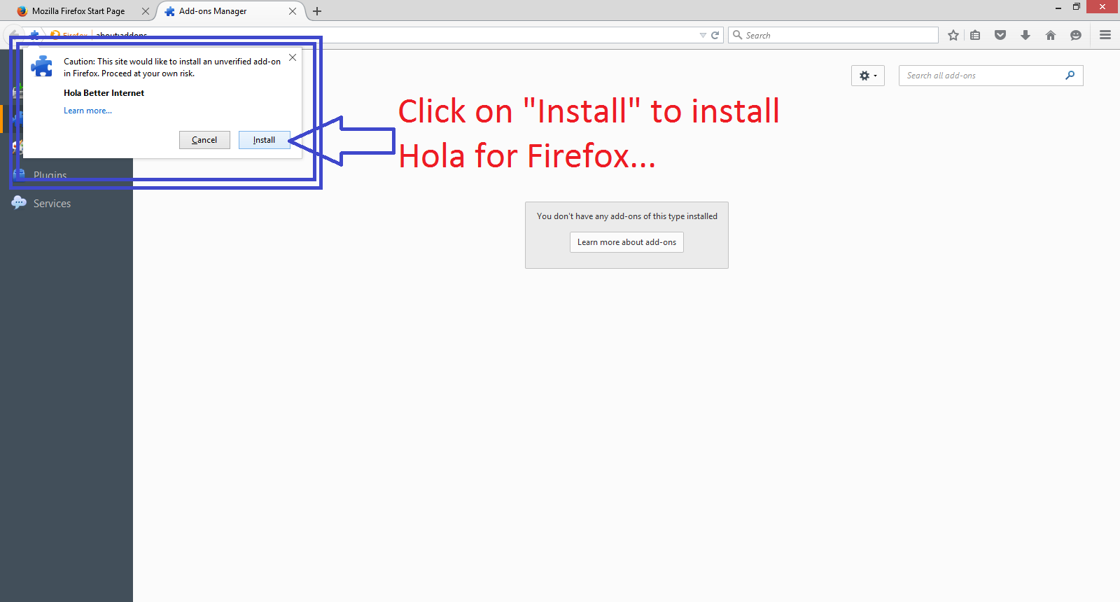 how to change hola in firefox