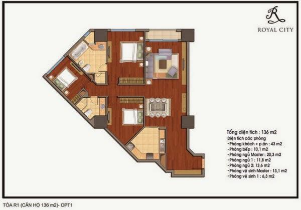 Chi tiết thiết kế căn hộ toà R1 chung cư Royal City diện tích 136 m2