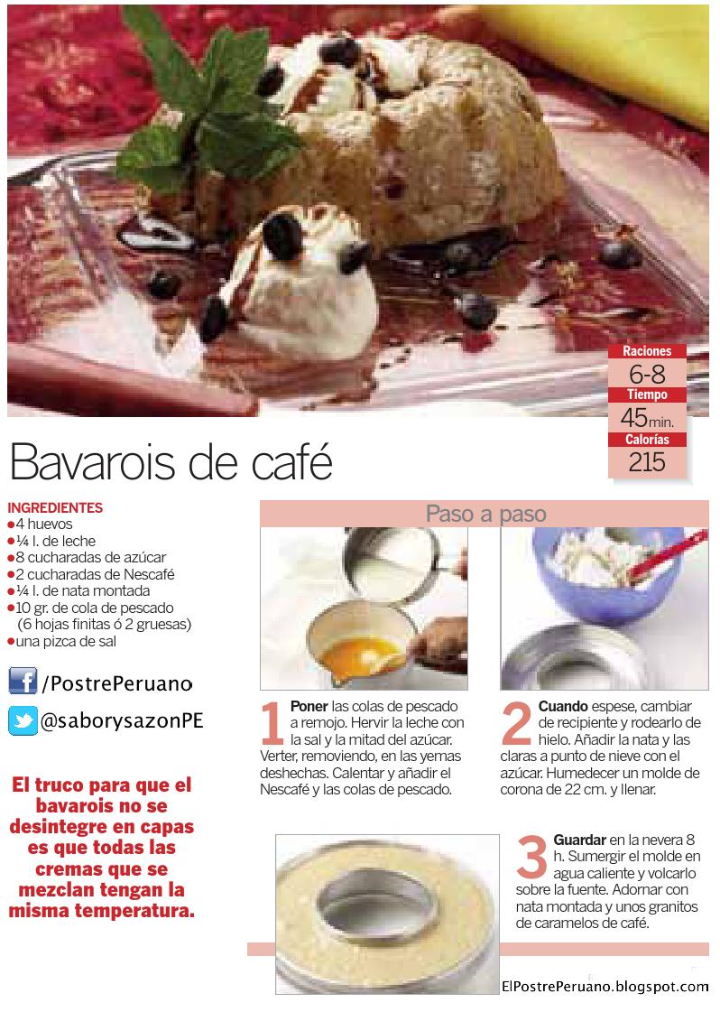 RECETA SENCILLA DE BAVAROIS DE CAFE - Postres con café
