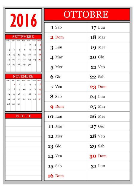 Calendario mensile - Ottobre 2016