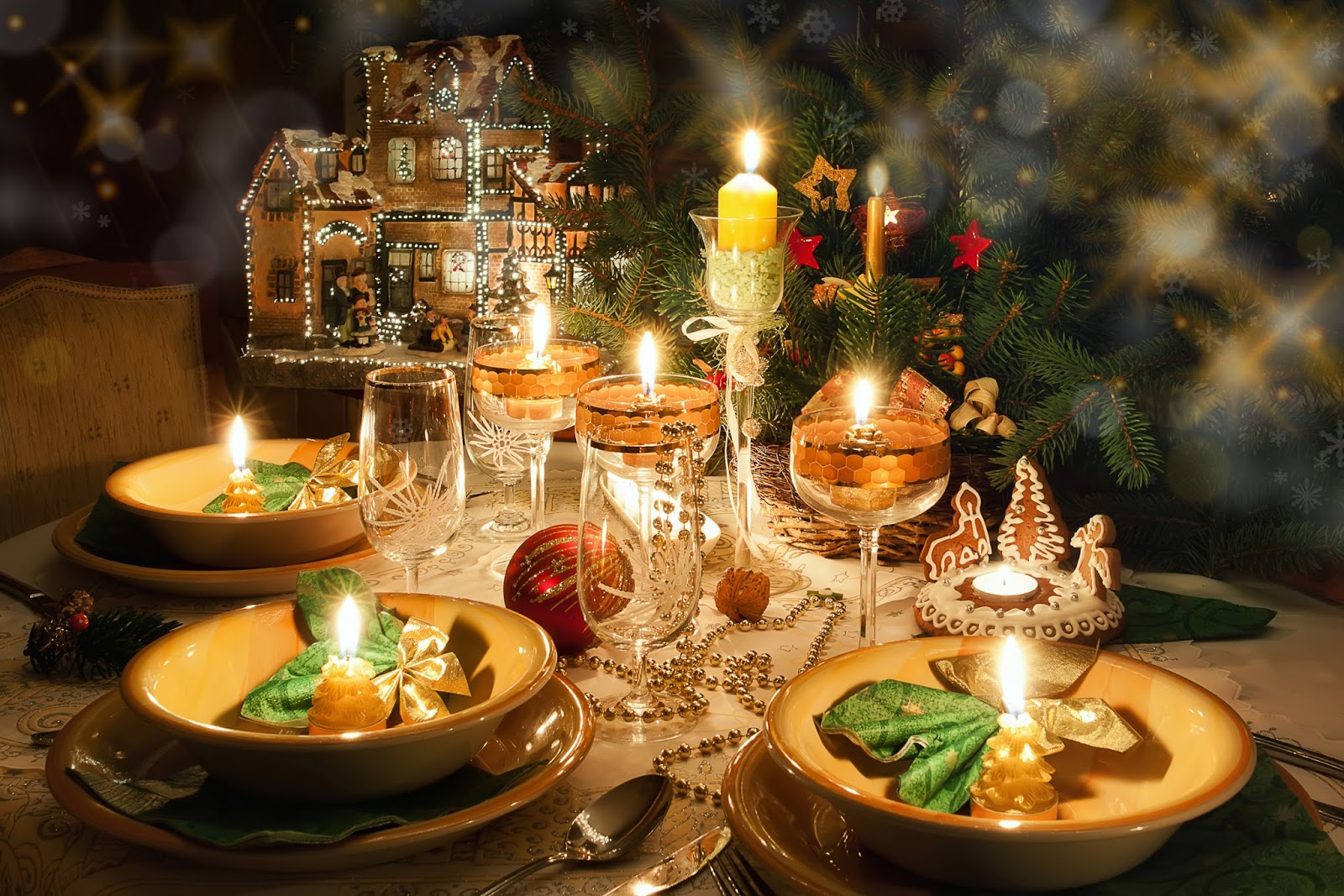 Banco de im genes cena de nochebuena navidad noche - Cena para noche vieja ...