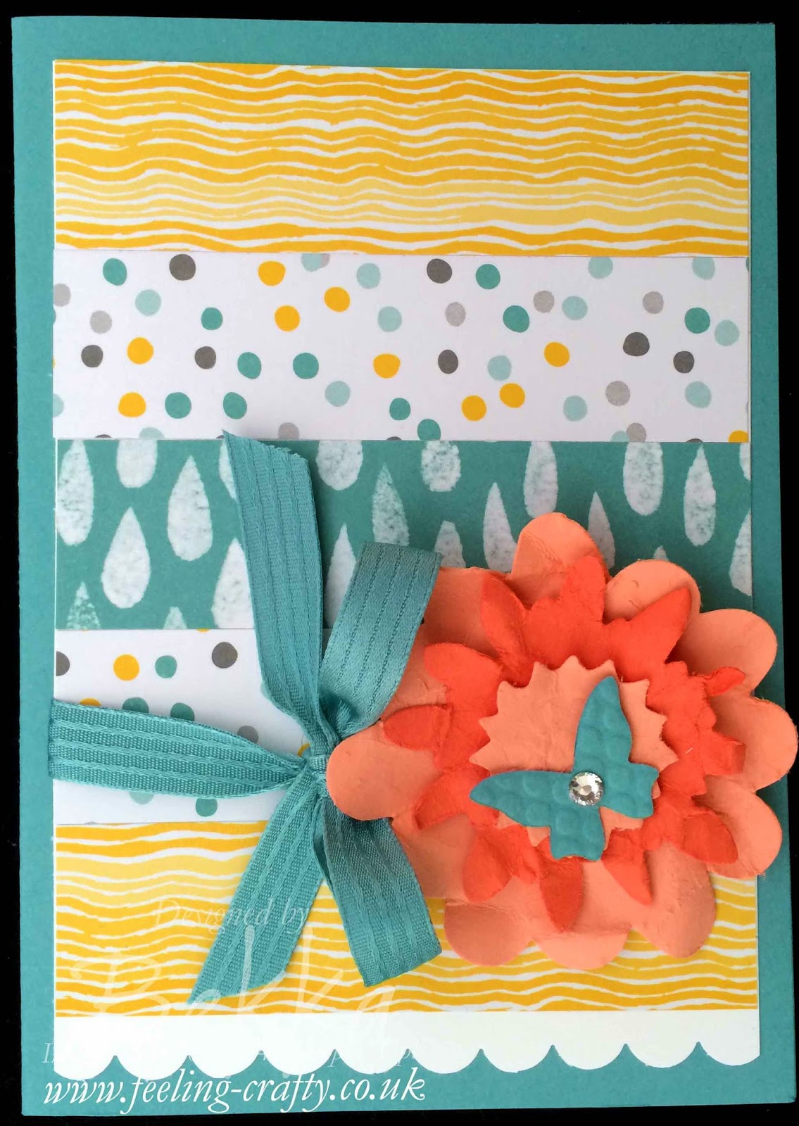 Cheery Floral Card made using up Scraps of Patterned Paper - check this blog for lots of cute ideas