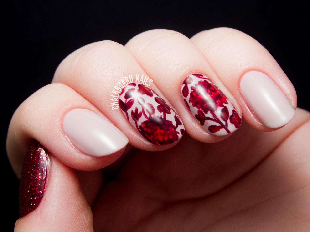 Ruby Red Floral Print By Chalkboardnails