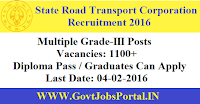 STATE ROAD TRANSPORT CORP RECRUITMENT 2016 FOR 1100+ GRADE-III POSTS
